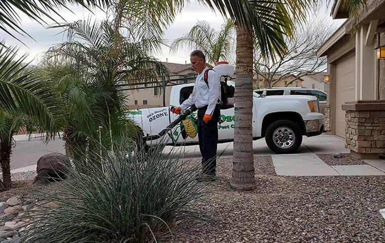 a pest control service technician performing mosquito misting treatments on the exterior of a home