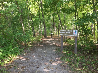 Start of trail at Smith's Island Recreation Area