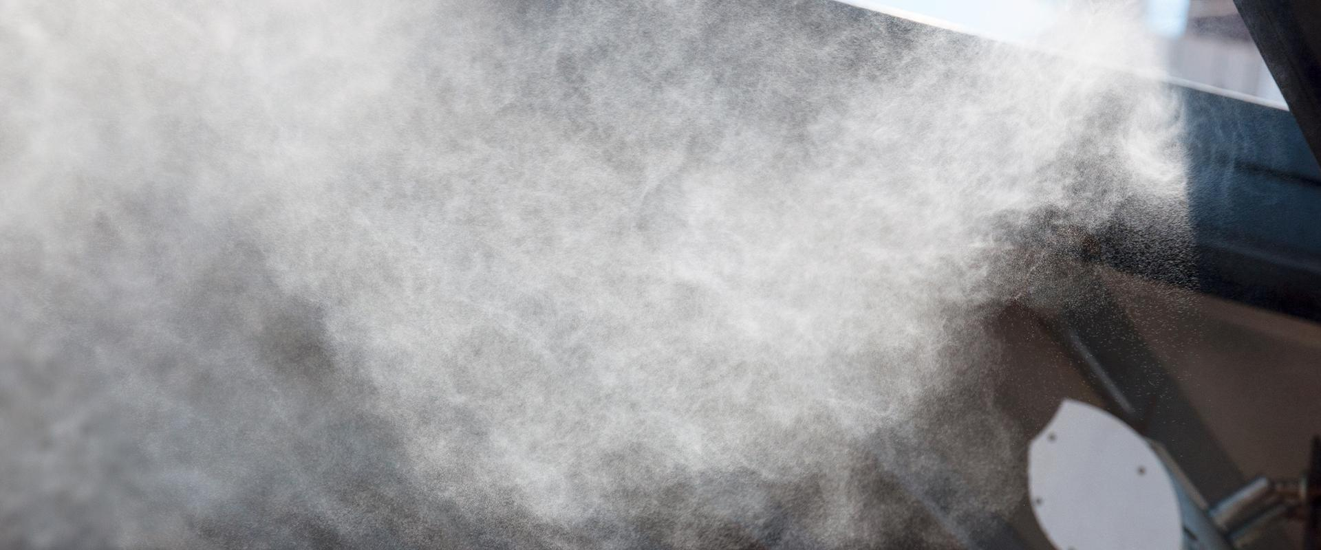 mist by a house