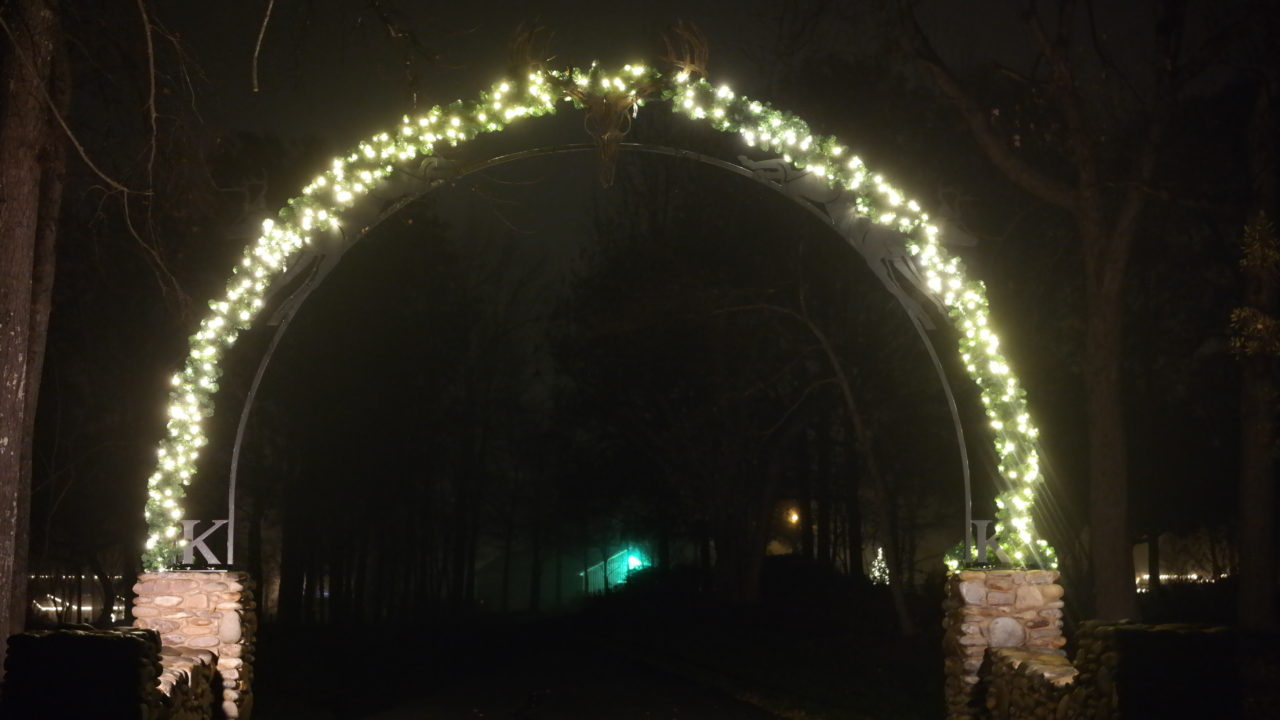 an archway with christmas lights
