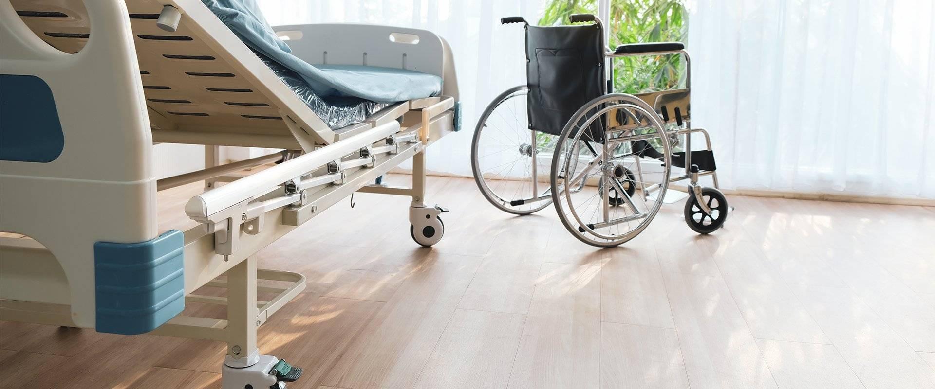 wheelchair in a nursing home