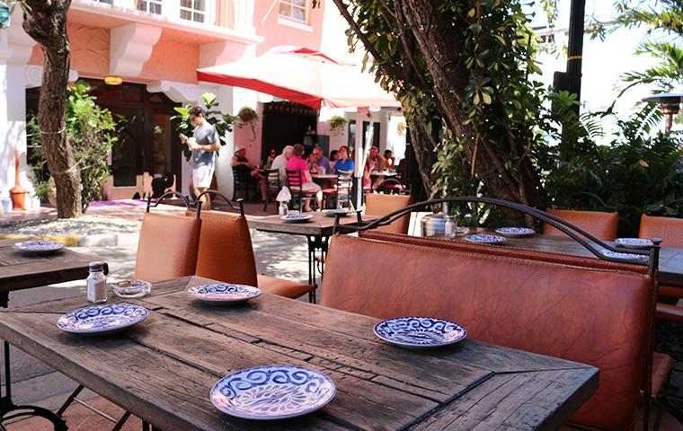 outdoor seating at a restaurant