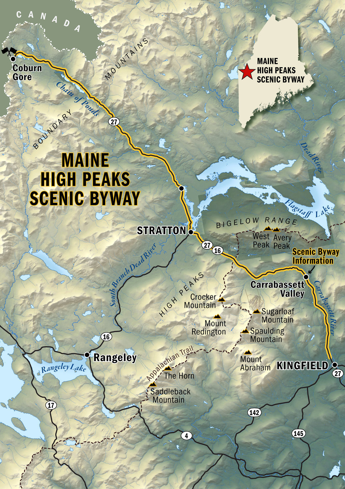 Maine High Peaks Scenic Byway Map