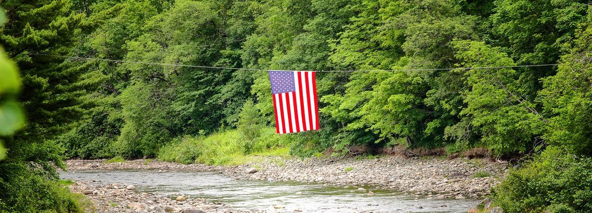 Flag over stream