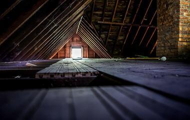 a dark attic in home