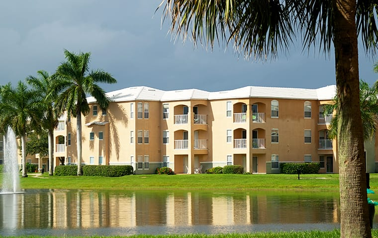 front view of a high end apartment complex in boca raton florida