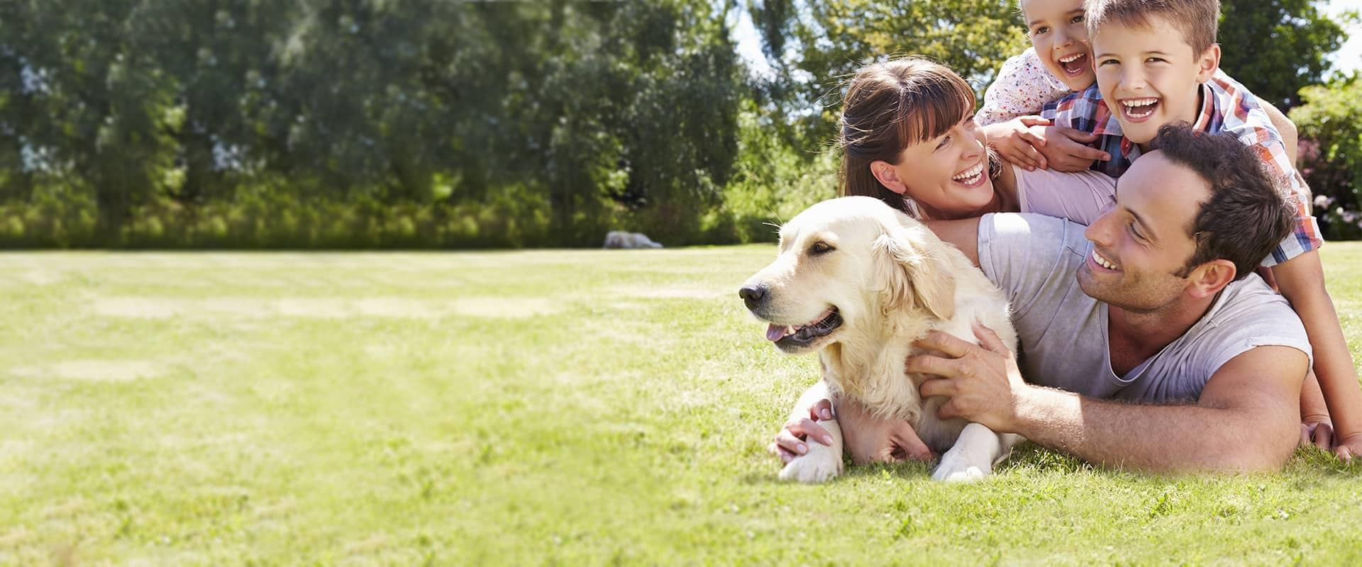 a family and their dog protected by eco friendly pest control services in greater sacramento california
