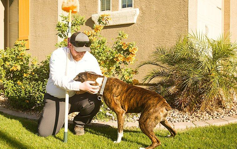 technician with a homeowners dog