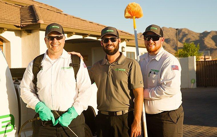 three technicians with equipment