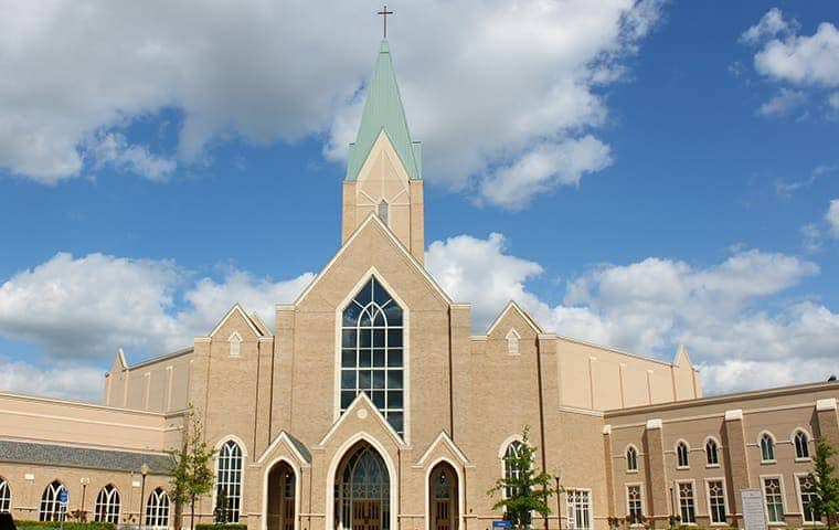 the exterior of a church serviced by pro active pest control in northern california