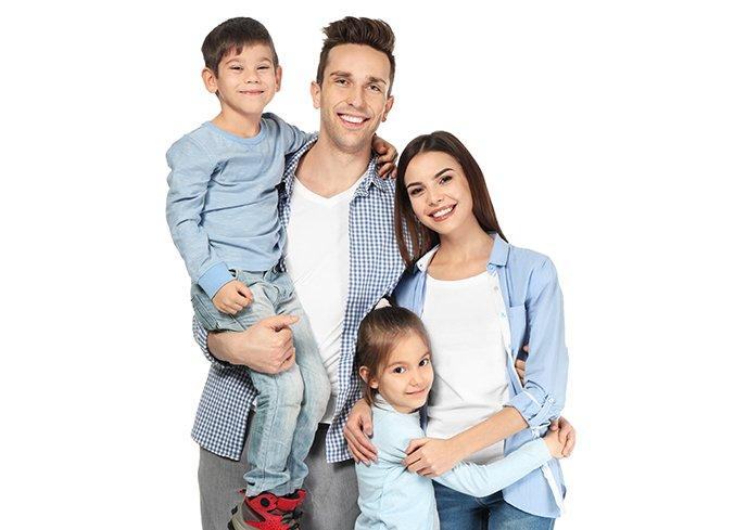 small family on white background