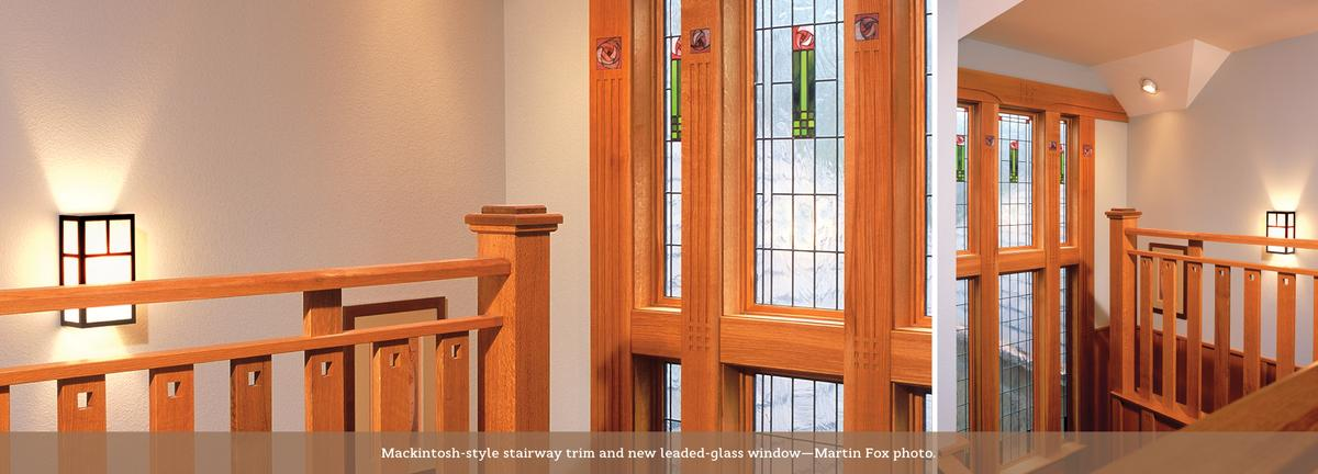 C.R.Mackintosh inspired stairway and window glass.