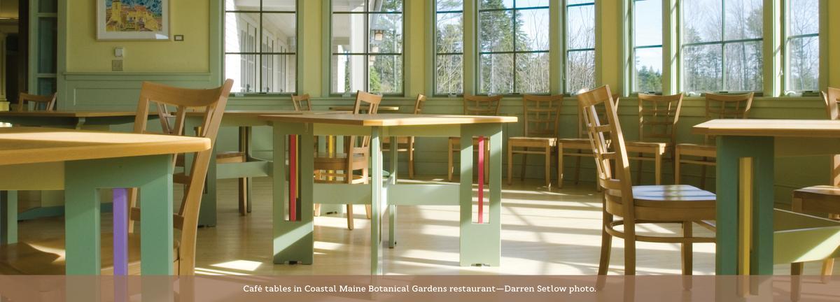 Coastal Maine Botanical Gardens, Mackintosh inspired cafe tables.
