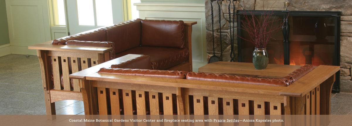 Coastal Maine Botanical Gardens, Prairie Settle seating.
