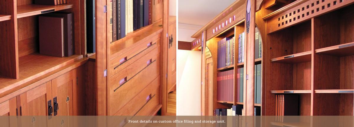 Charles Rennie Mackintosh style office interior.