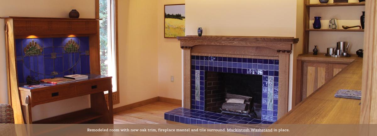 Arts & Crafts inspired fireplace mantle.