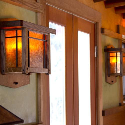 Arts & Crafts wall sconces, mica lighting.
