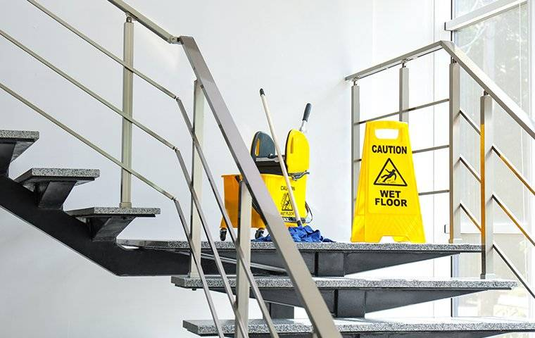 cleaning supplies in a commercial building