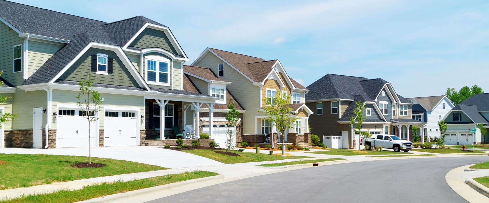 street view of suburban neighborhood