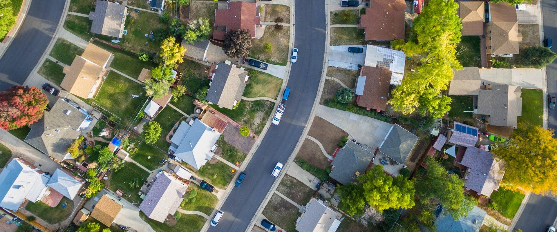 suburb homes from above