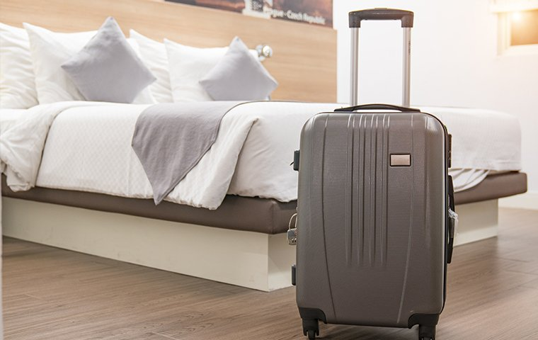 black suitcase in a hotel room