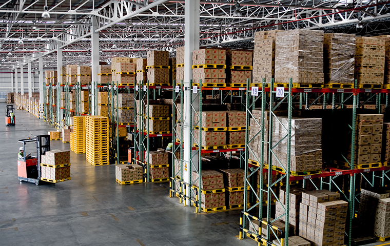 interior view of a warehouse in chester county pennsylvania