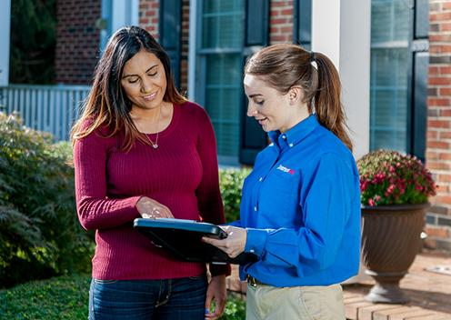 a service technician meeting with a customer in college park maryland