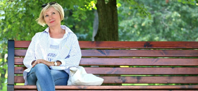 lady sitting on a bench