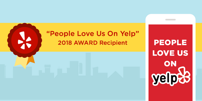 graphic of the people love us on yelp award