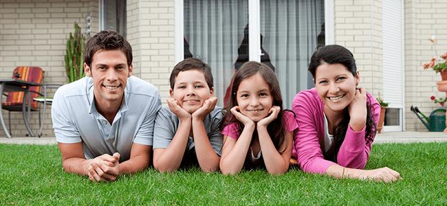 family having fun in their backyard