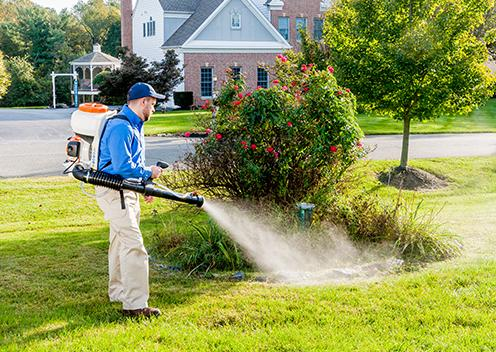 a technician spraying repellent on a yard in delaware