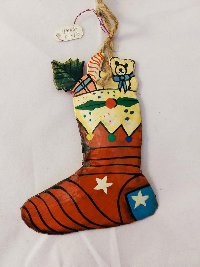 Haiti Metal Christmas Stocking Ornament