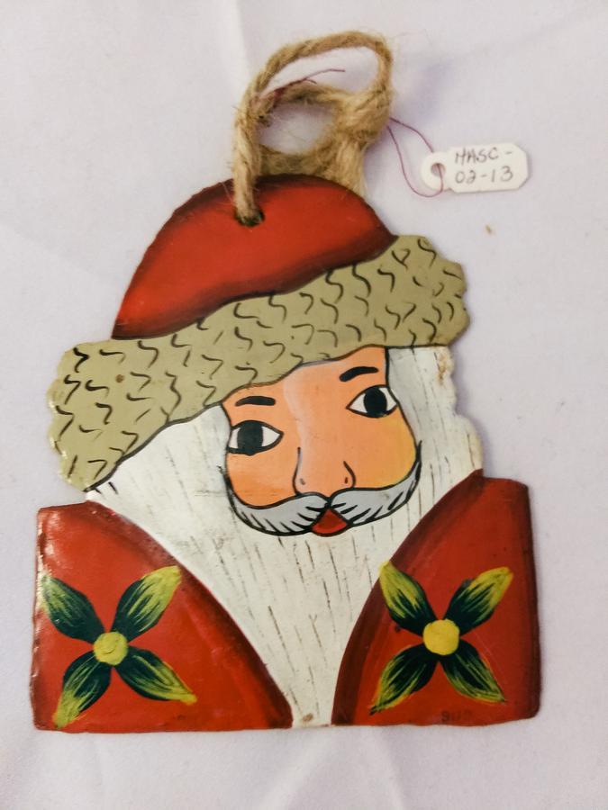 Haiti Metal Santa Ornament