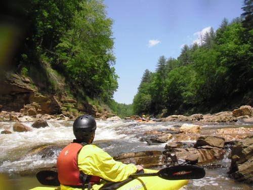 whitewater paddler along Twelve Mile Creek (Credit: John Lane)