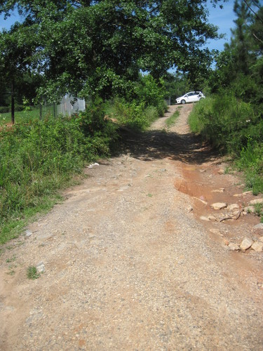 trail leading to roadside parking area along Cooley Bridge Road (Credit: Upstate Forever)