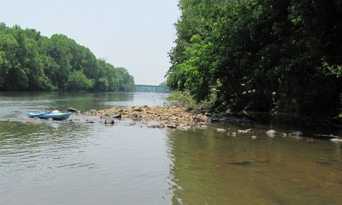 Site of Old Catawba Indian Fish Dam and Revolutionary War Battle.  (On river right with 219 Bridge in site) (Credit: P Cumalander-Frick)