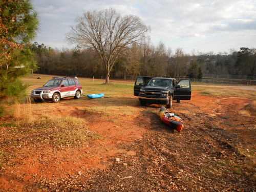 small parking area next to take out above Ware Shoals Dam (Credit: Upstate Forever)