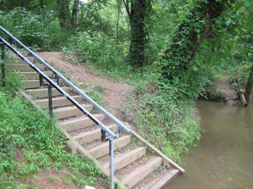 stairs leading down to Saluda River at Beacham Road access (Credit: Upstate Forever)