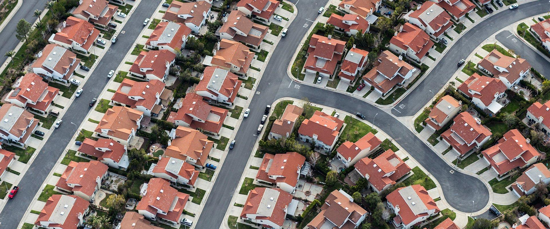 aerial view of a neighborhood in sacramento california