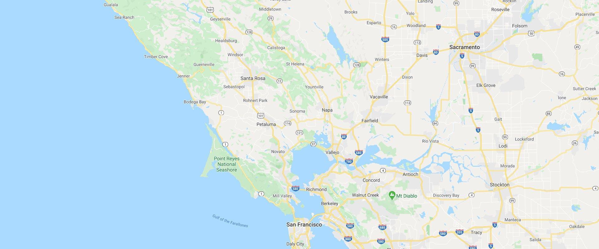 a map of california featuring sacramento