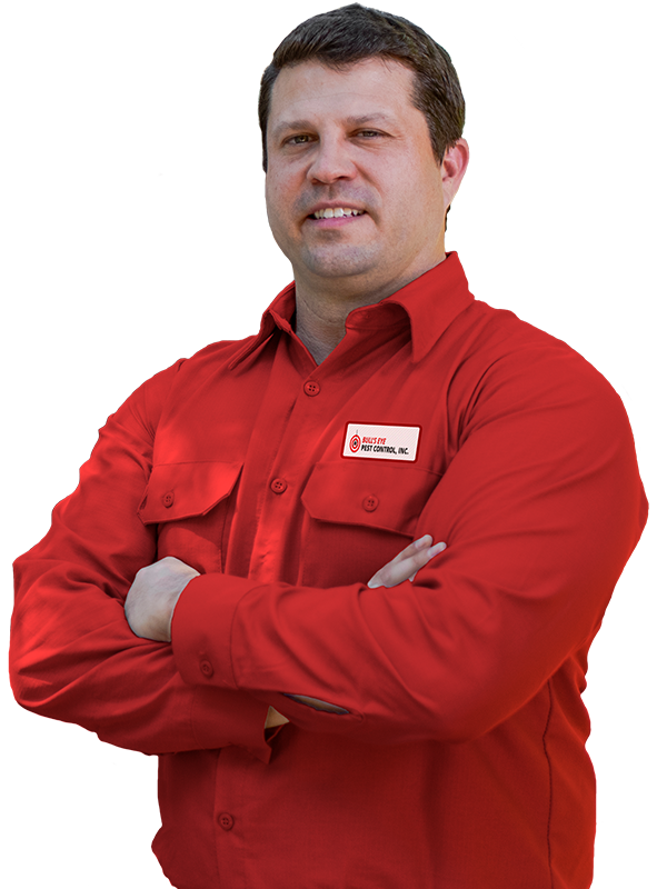 a pest control service technician posing over a transparent background