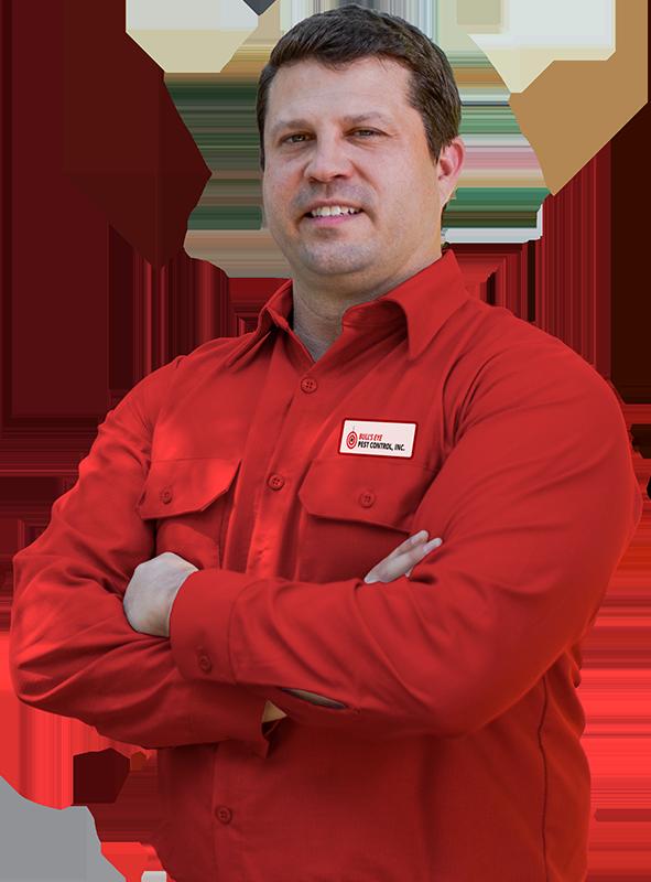 a pest control service technician posing over a transparent background