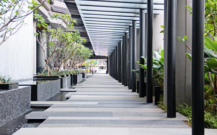 exterior walkway of commercial building