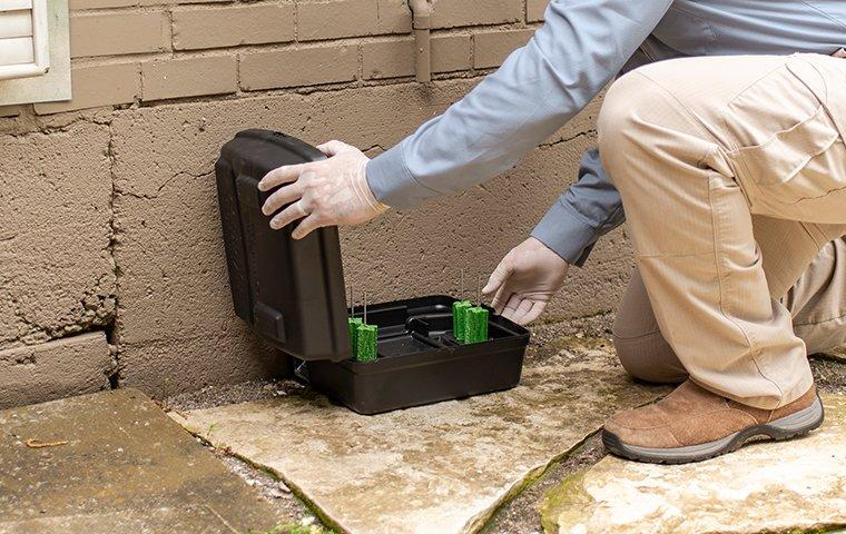 a pest technician installing exterior rodent bait boxes for a home in washington dc