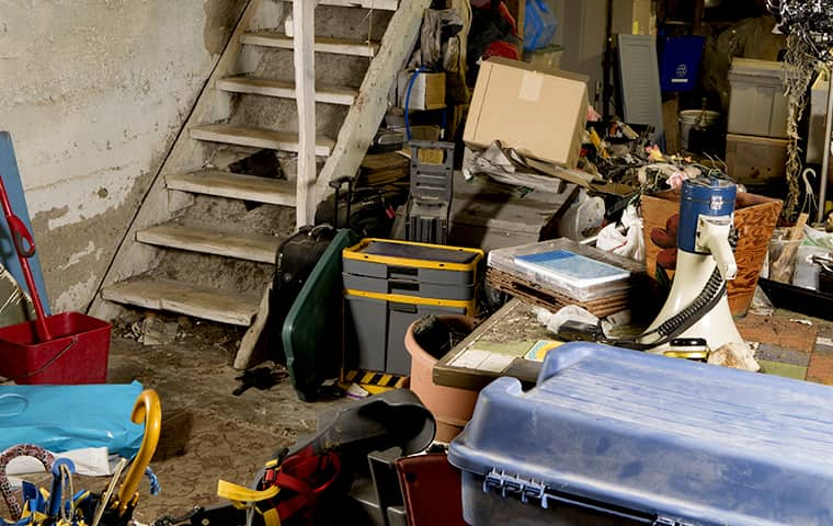 a cluttered basement inside of a west milford new jersey home
