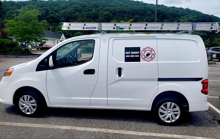company van in parking lot