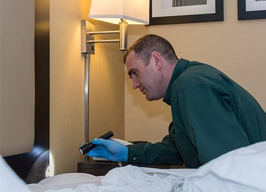 a professional bed bug technician inspecting and treating a high traffic hotel room in elizabethtown kentucky