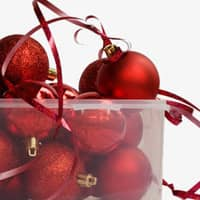 christmas decorations in plastic container