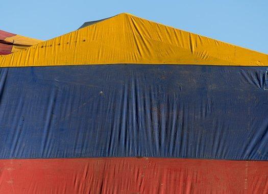 a fumigation tent over a building