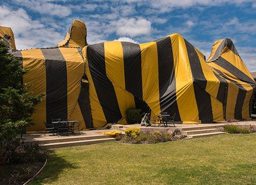 fumigation tent over a house